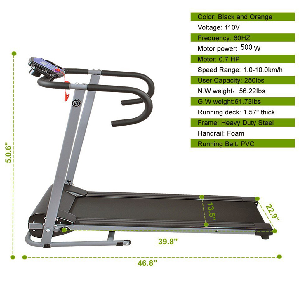 Goplus 500w folding portable electric treadmill black for Best choice products black 500w portable folding electric motorized treadmill